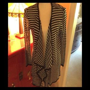 Black & white striped long open cardigan